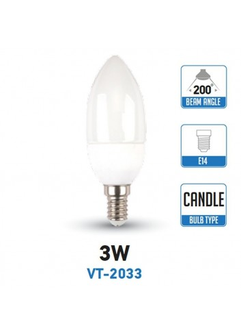 V-Tac VT-2033 Lampadina LED E14 3W Candela